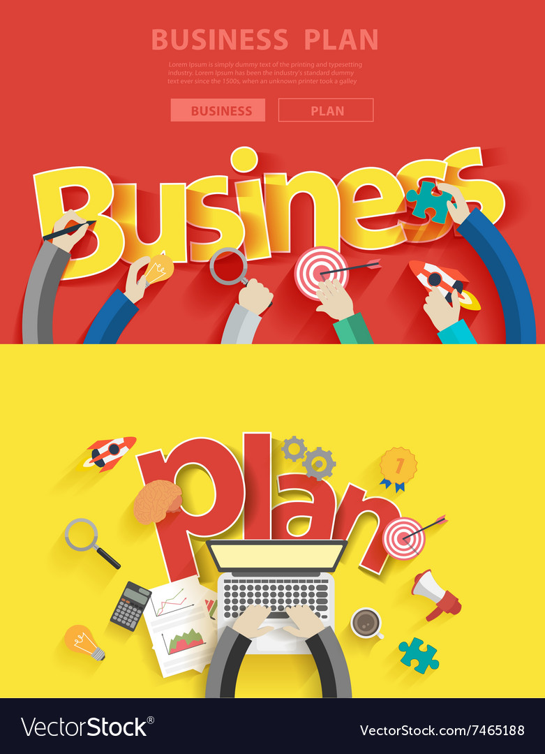 Business plan analysis and planning vector image