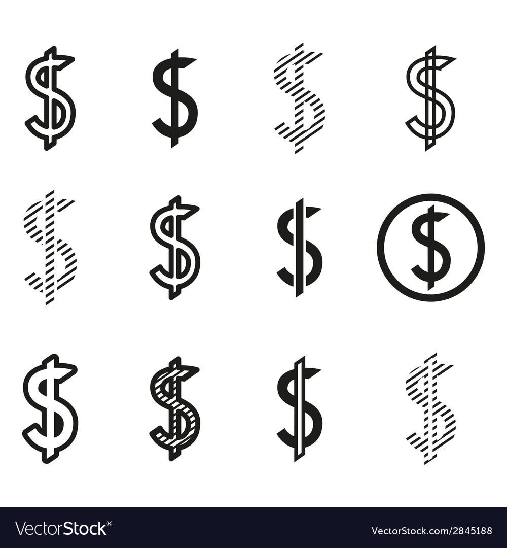 Dollars sign icon set dollar logo template Vector Image