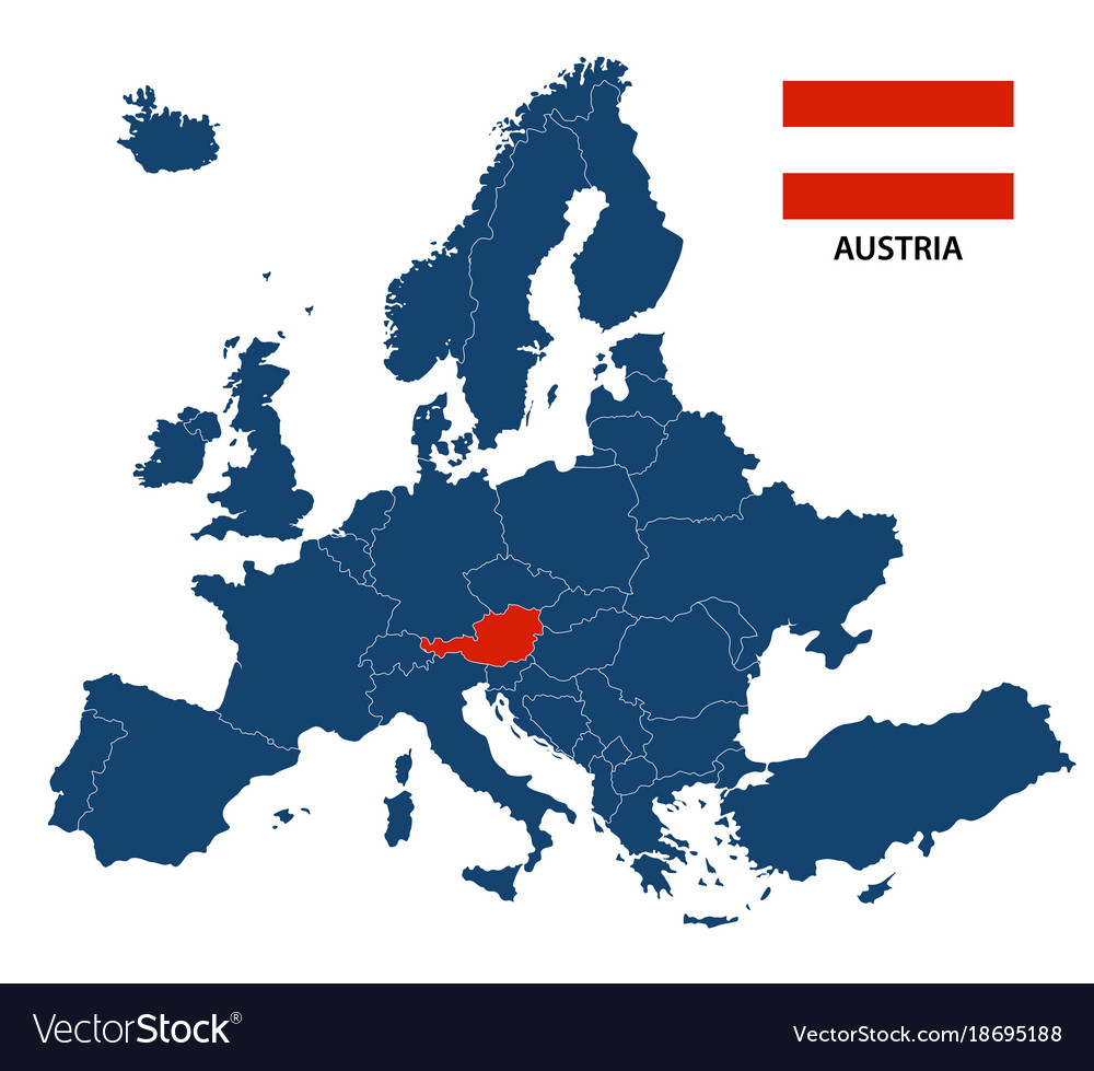 Map Of Europe With Highlighted Austria Vector Image