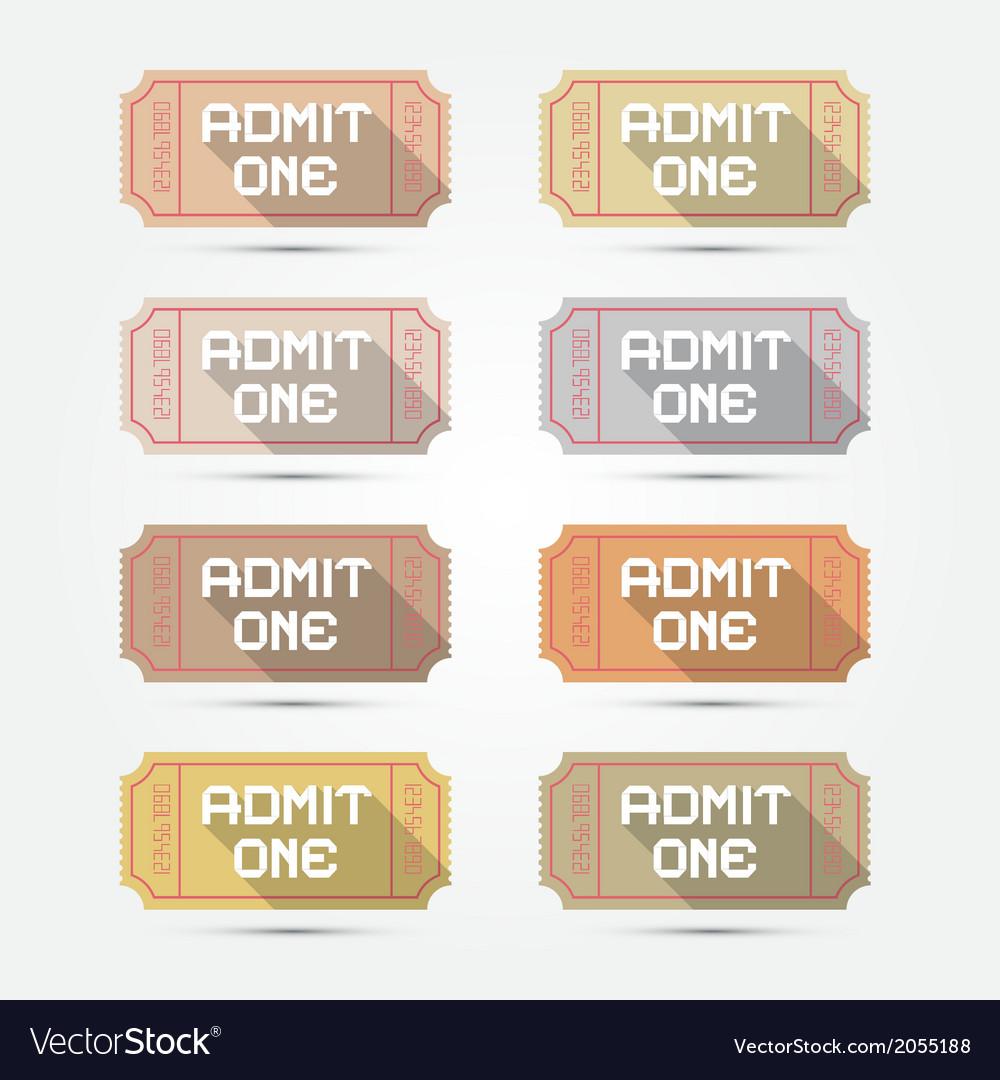 Paper Admit One Ticket Set vector image