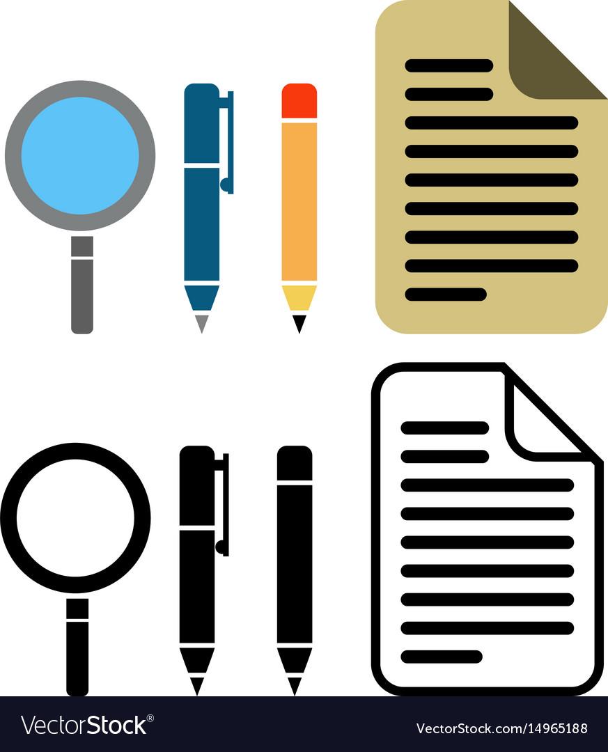 Pen pencil and paper icon