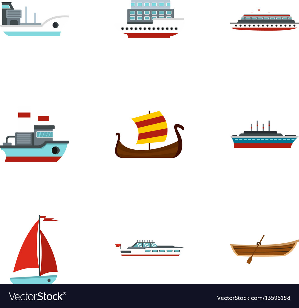 Sailing icons set flat style vector image