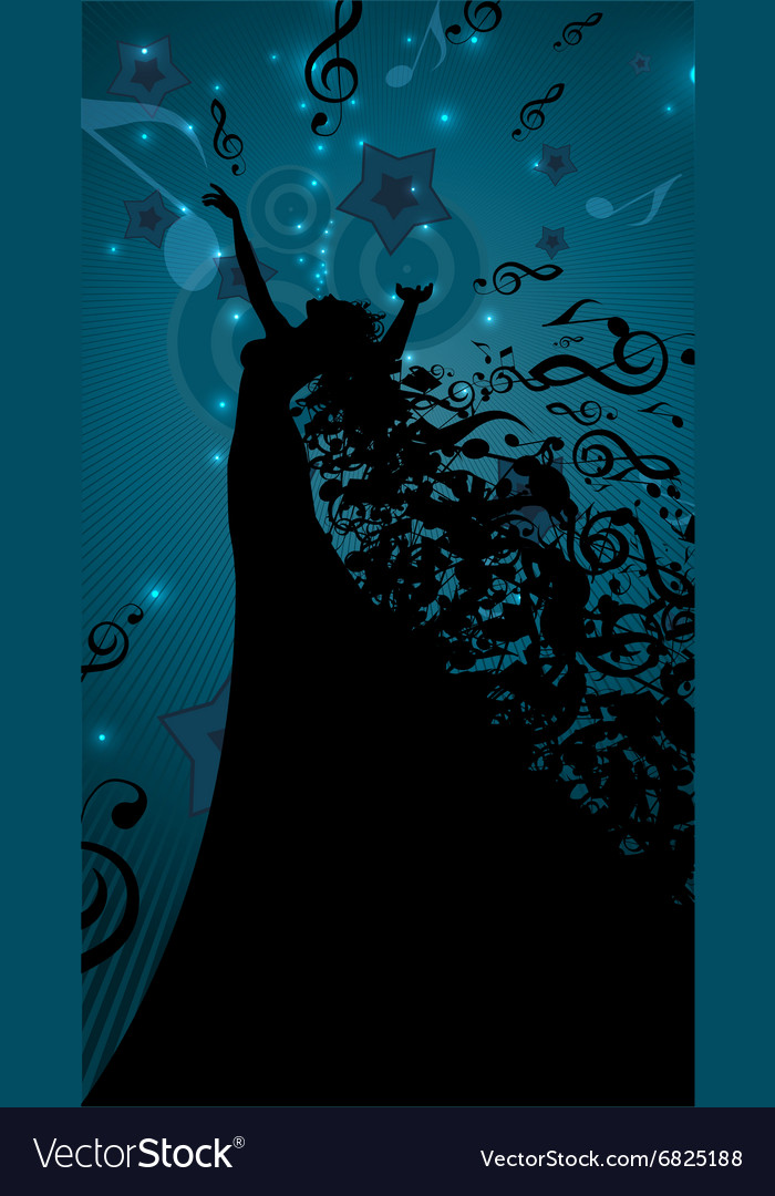 Silhouette of Opera Singer with Hair Like Musical vector image
