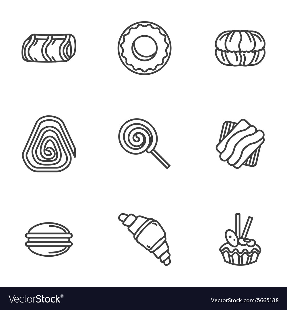 Sweets simple icons set vector image