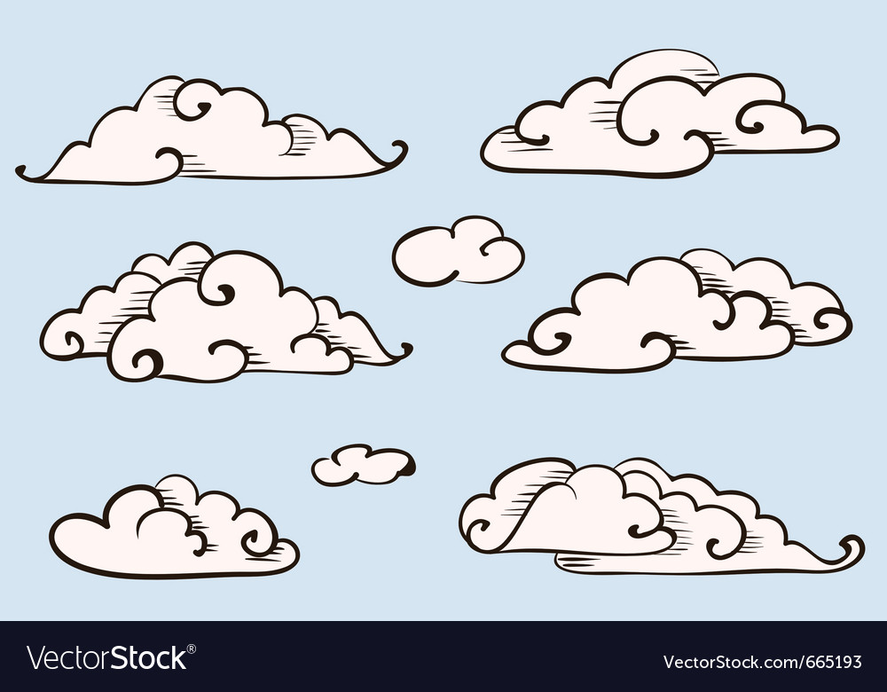 Clouds set vintage stylized drawing