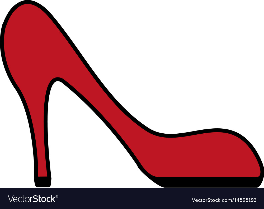 Color image cartoon red high heels shoes