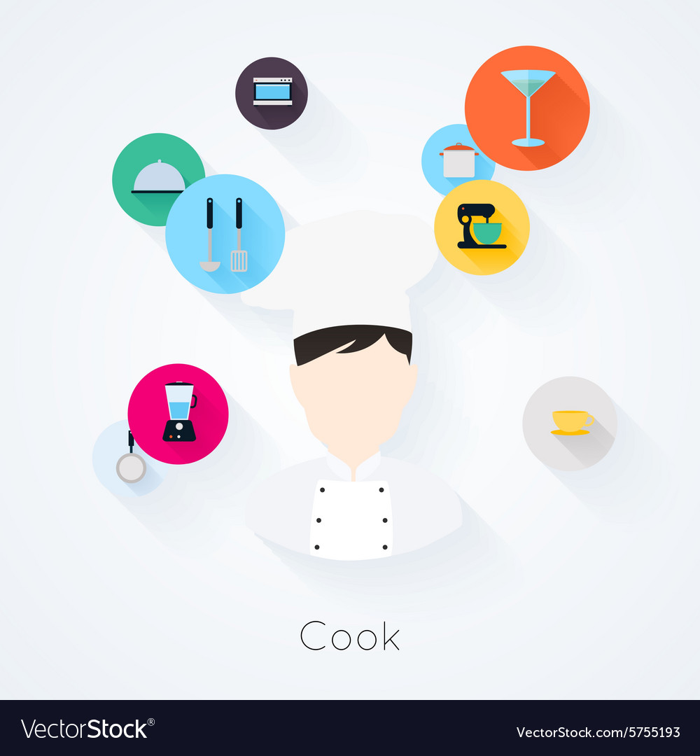 Cook character with food cooking and serving icons