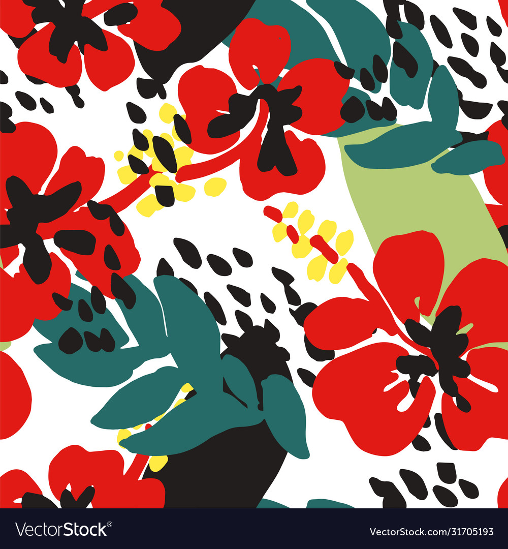 Floral seamless pattern poppies with green leaves
