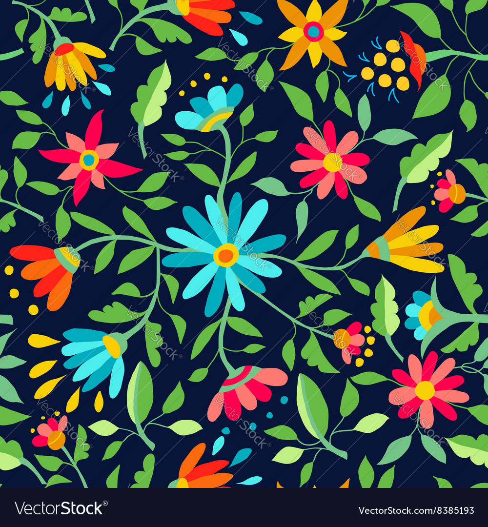Flower Seamless Pattern Spring Color Background Vector Image