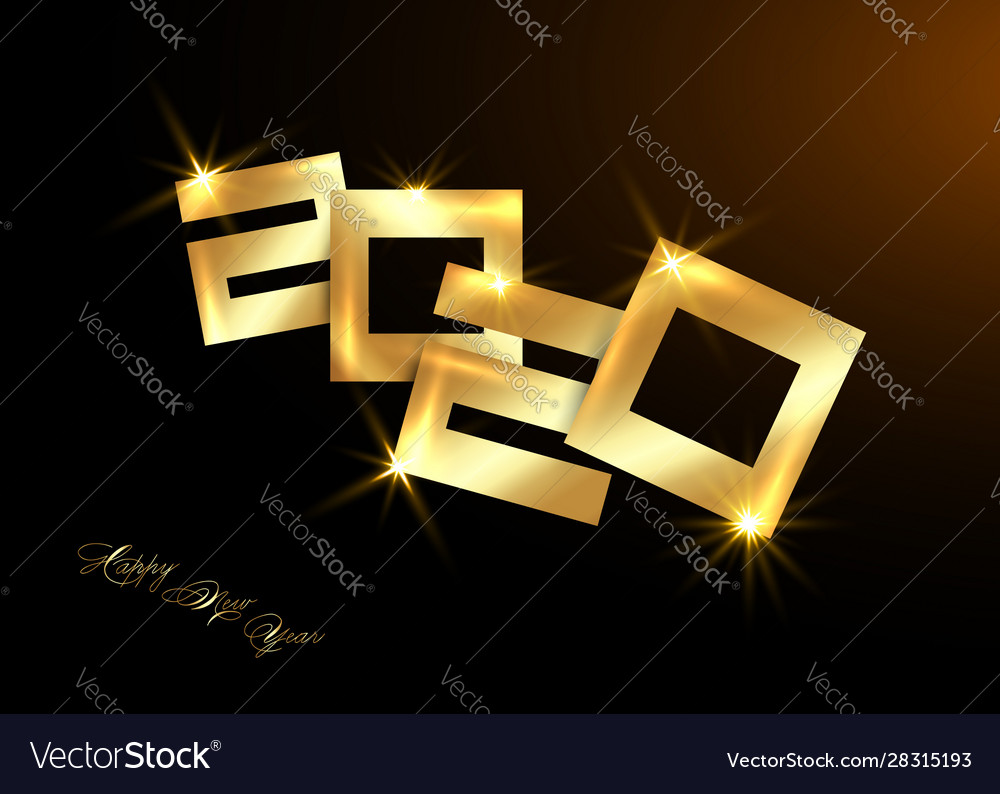Gold 2020 happy new year luxury golden numbers