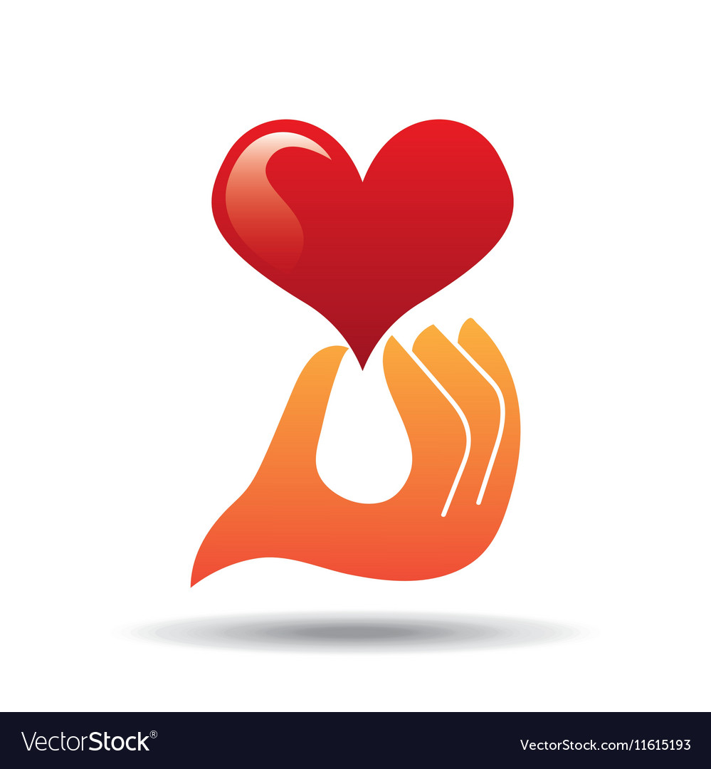 Heart love hand holding graphic