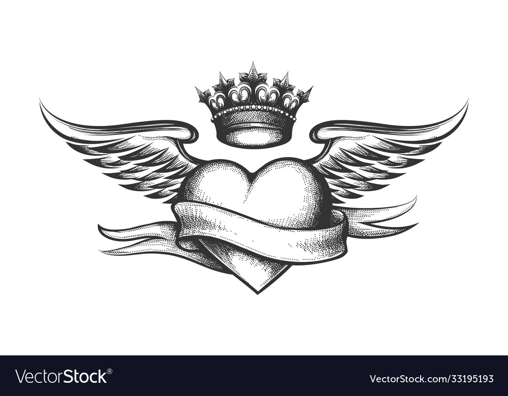 Heart with crown wings and ribbon tattoo