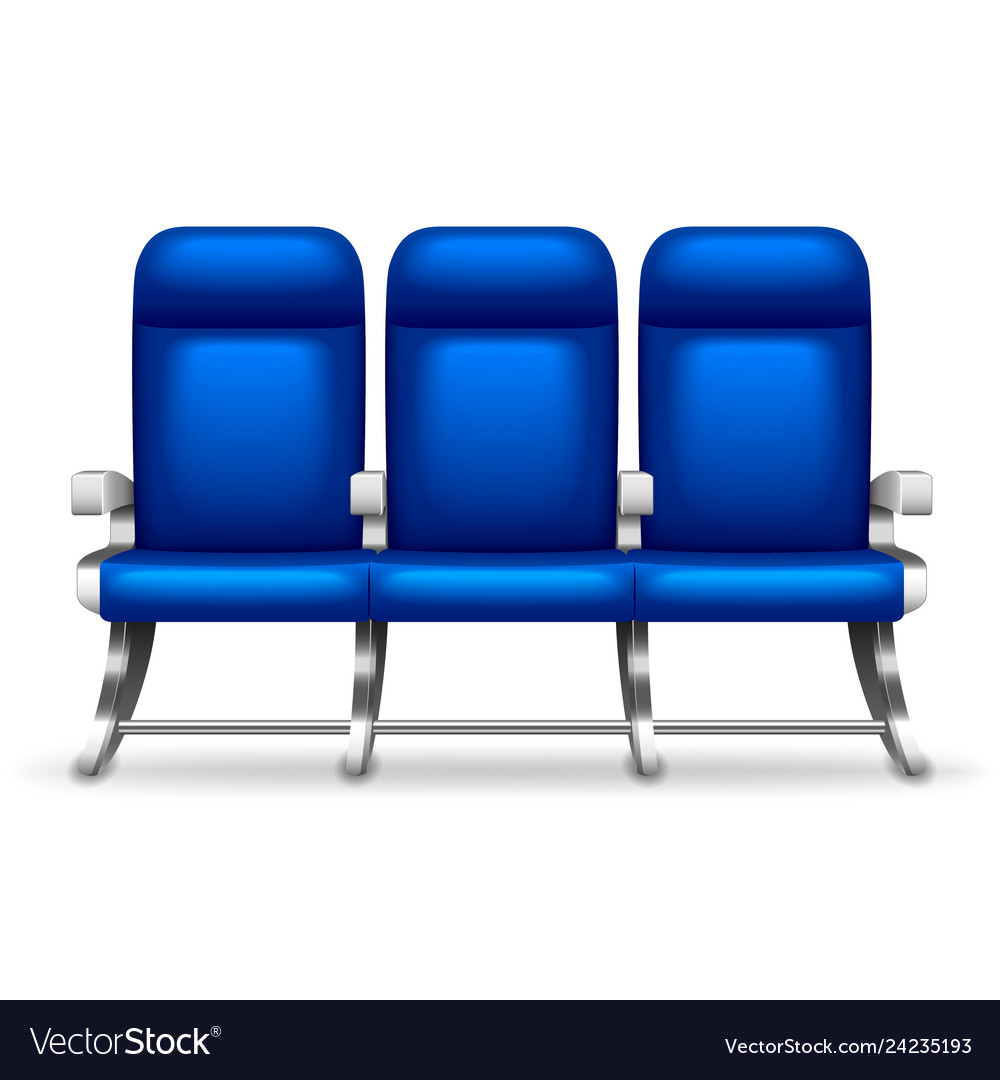 Three airplane seats isolated on white