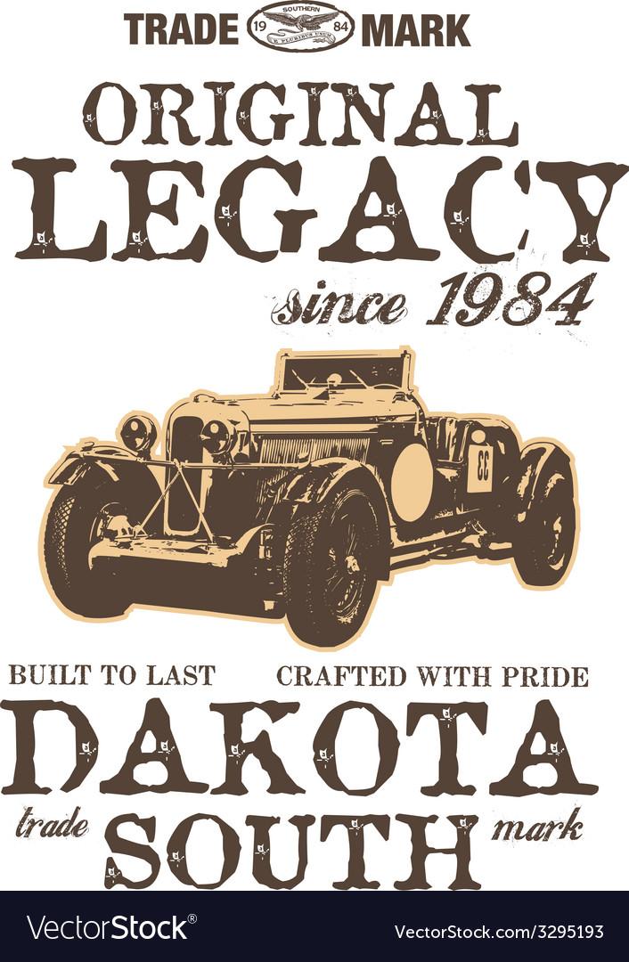 Vintage car graphic design print