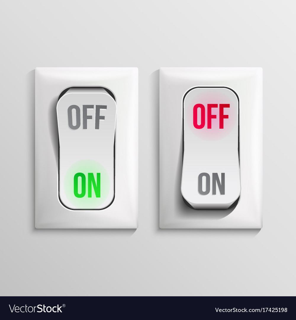3d toggle switch white switches with on Royalty Free Vector