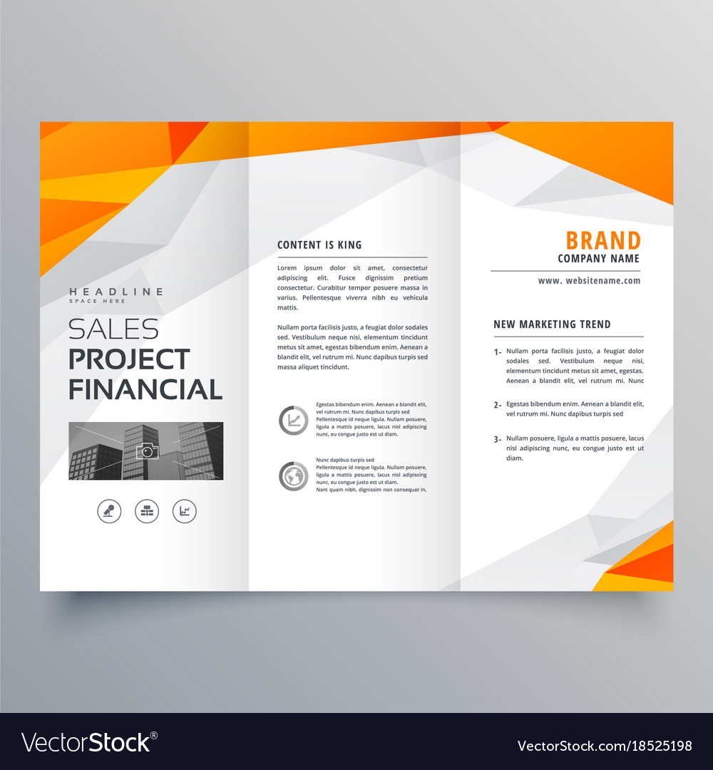 abstract orange trifold brochure design business vector image