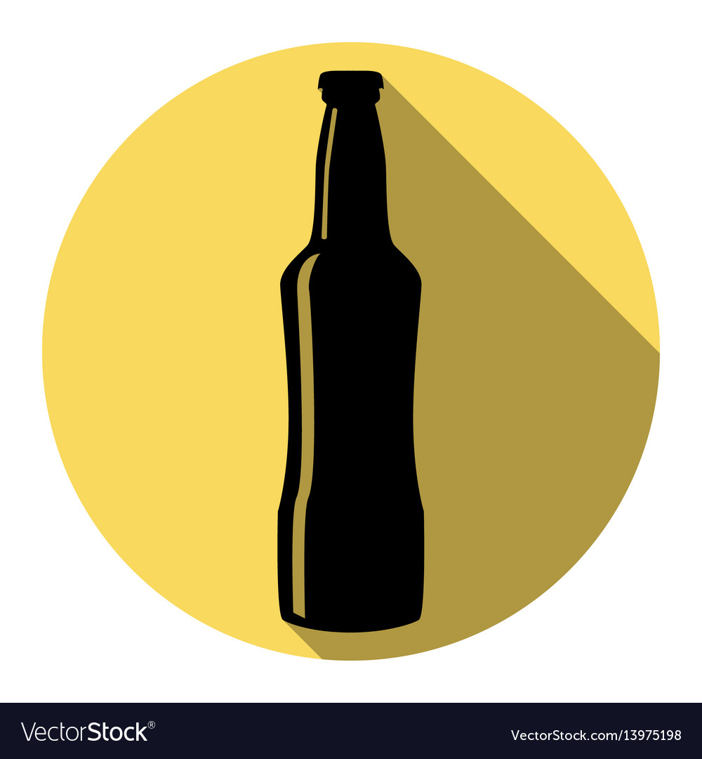 Beer bottle sign flat black icon with