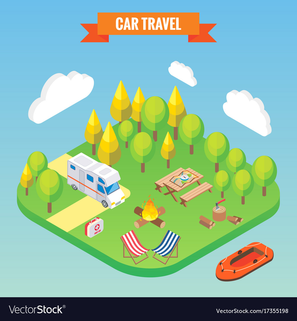 Car travel and camping isometric concept