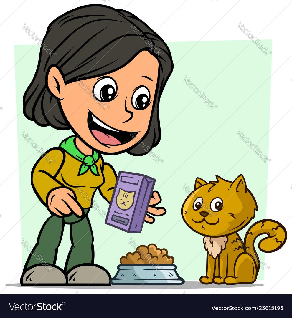 Cartoon girl character feeding little cat
