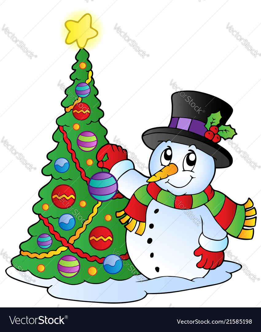 Cartoon snowman with christmas tree vector image
