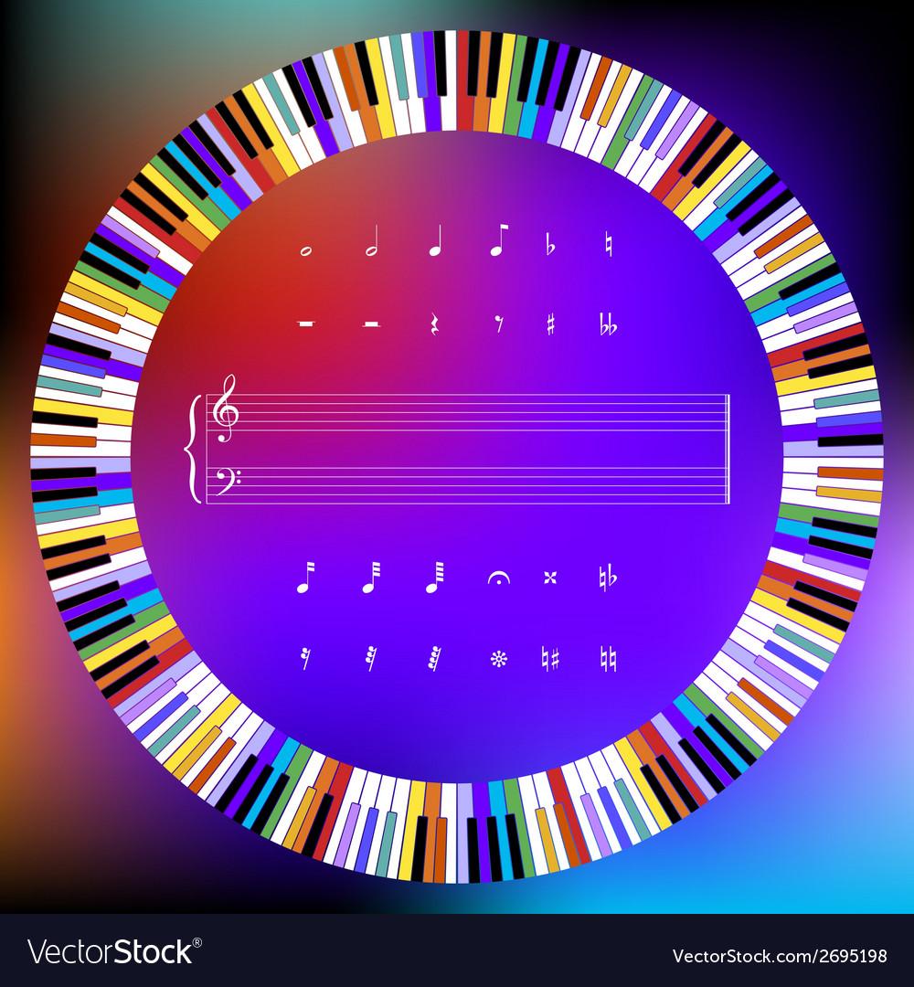 Colored Piano Keys and Music Symbols