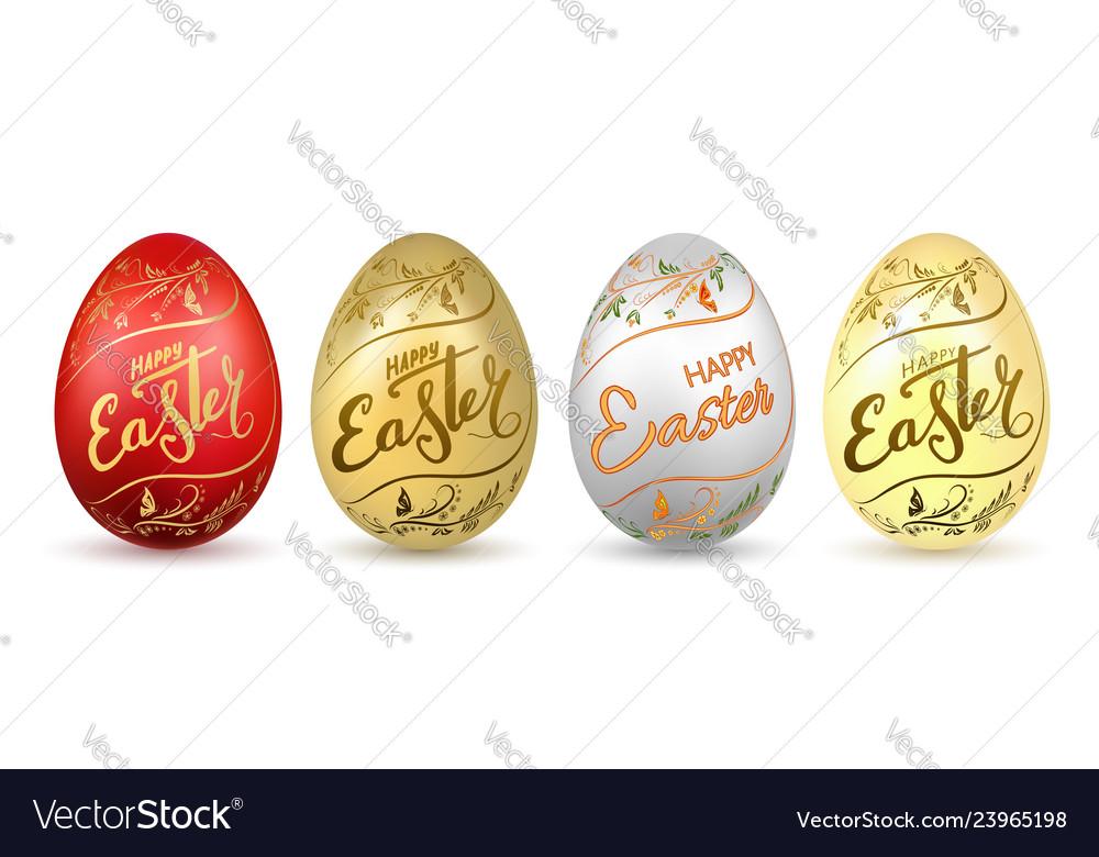 Easter egg 3d icon eggs set flower gold