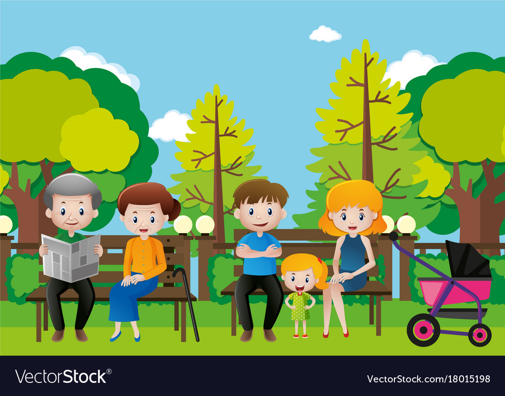 Family sitting in a park Royalty Free Vector Image
