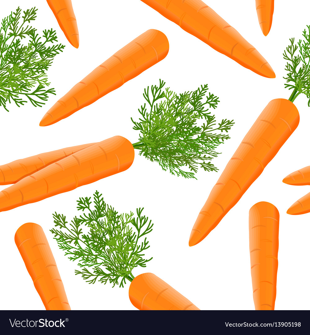 Fresh juicy carrots seamless pattern with green