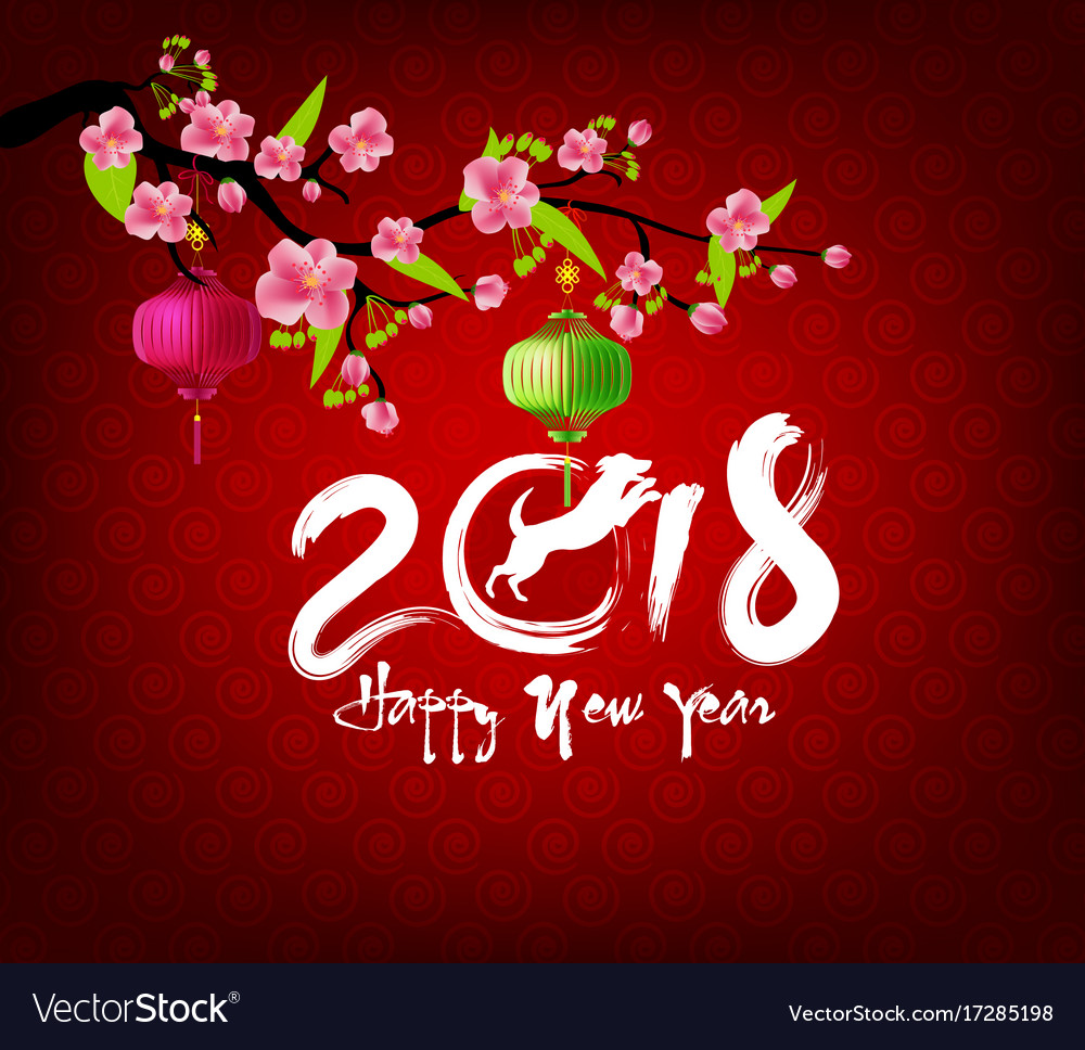 Happy new year 2018 greeting card and chinese new vector image m4hsunfo