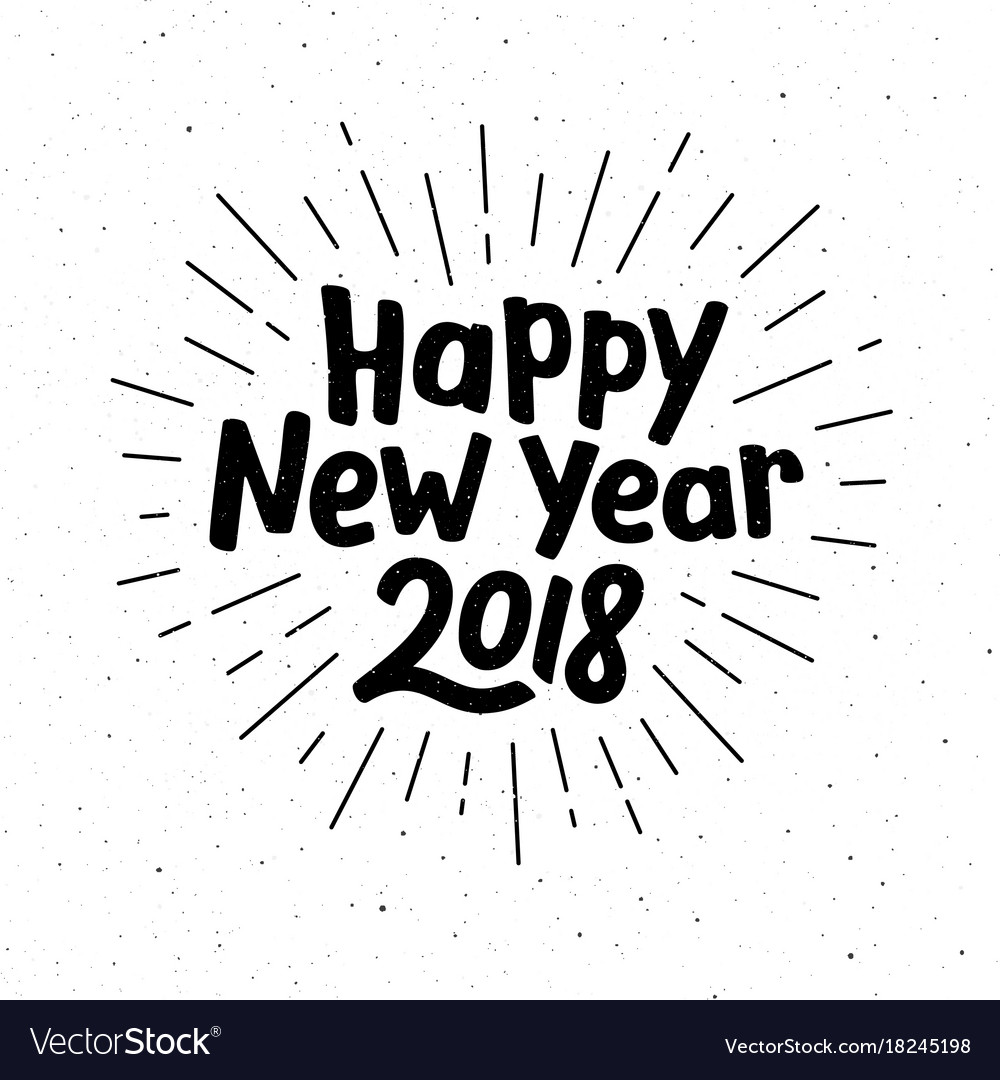 Happy new year 2018 typography Royalty Free Vector Image