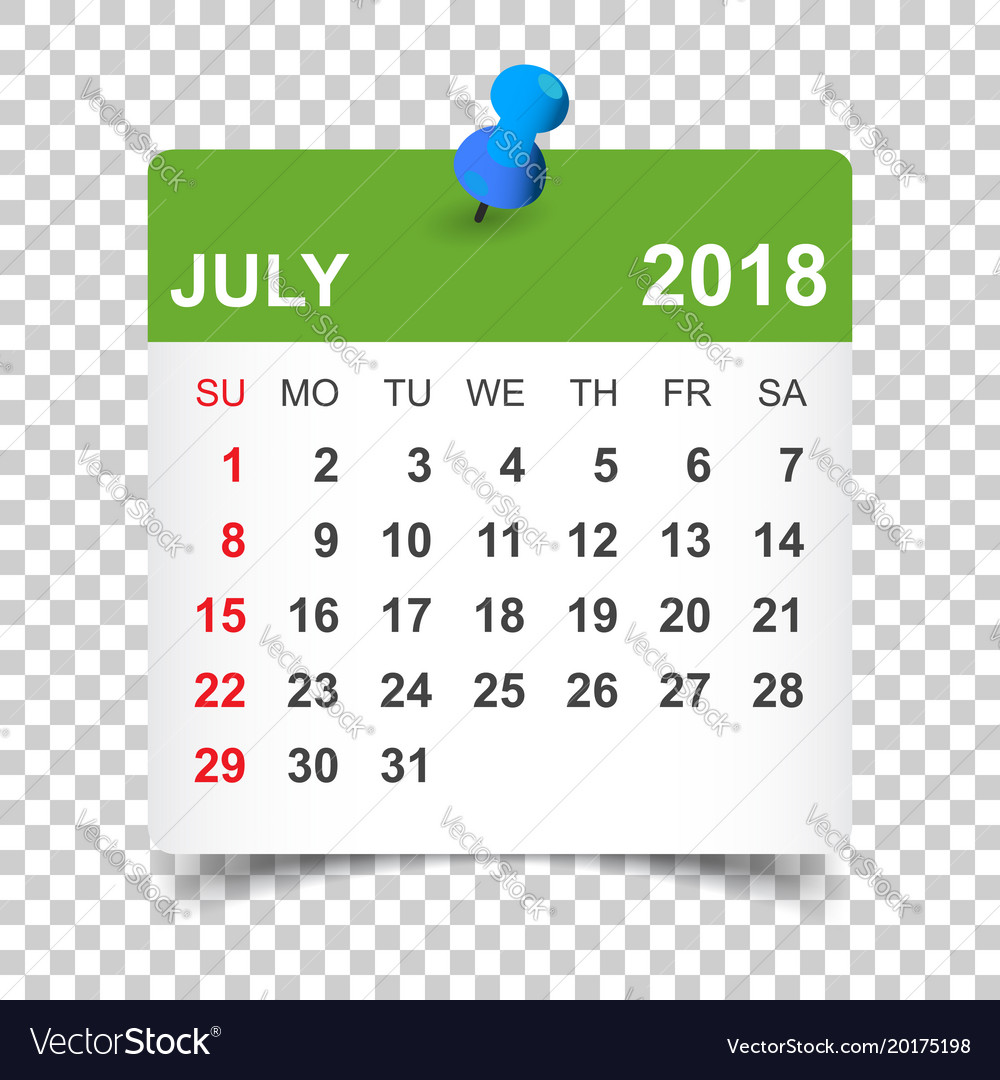 july 2018 calendar calendar sticker design vector image