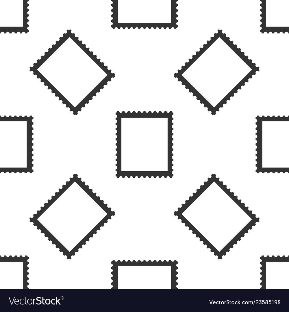 Postal stamp seamless pattern on white background