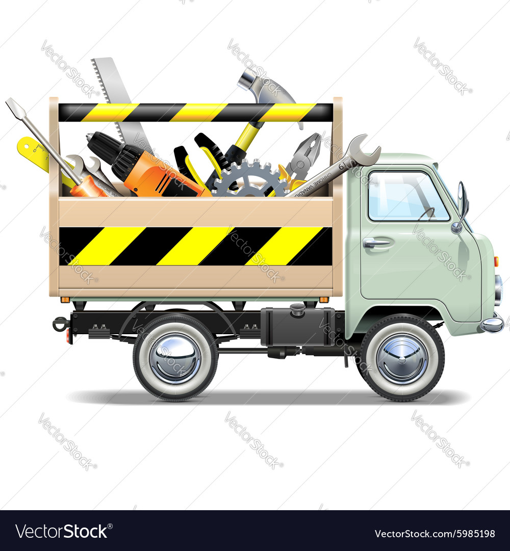 Retro Truck with Toolbox vector image