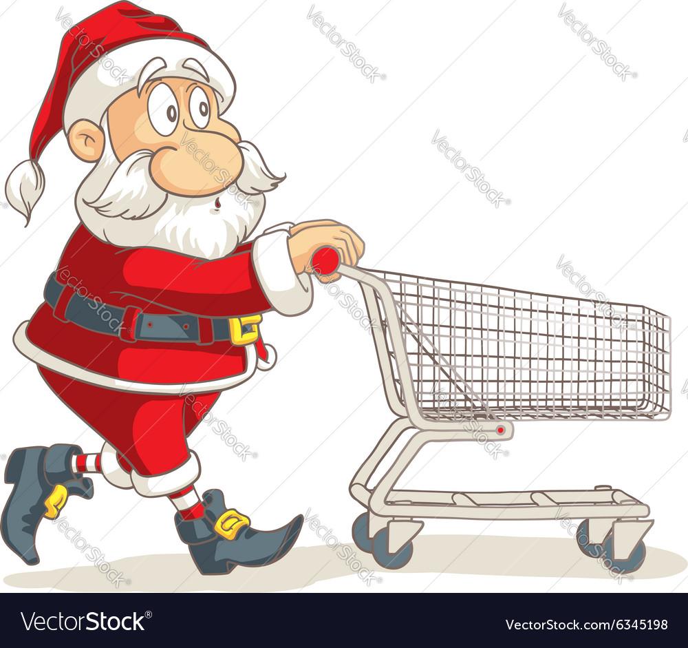 Santa Claus with Empty Shopping Cart Cartoo vector image