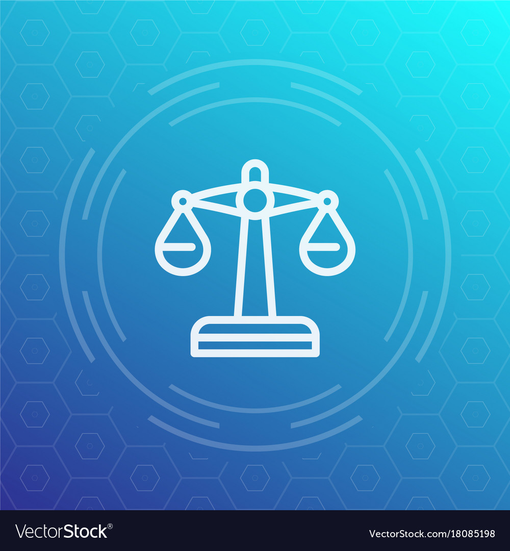 Scales linear icon risk or justice symbol