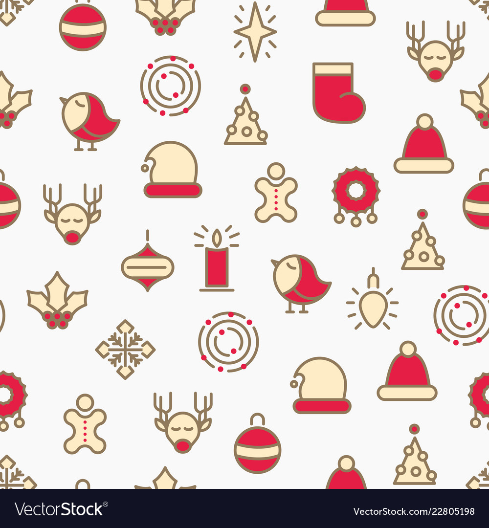 Simple merry christmas symbols seamless pattern
