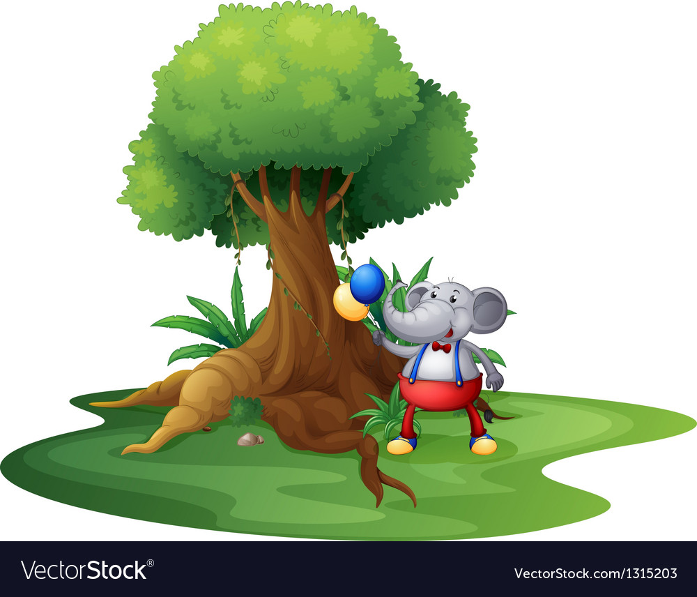 A young monkey with balloons near the big tree vector image