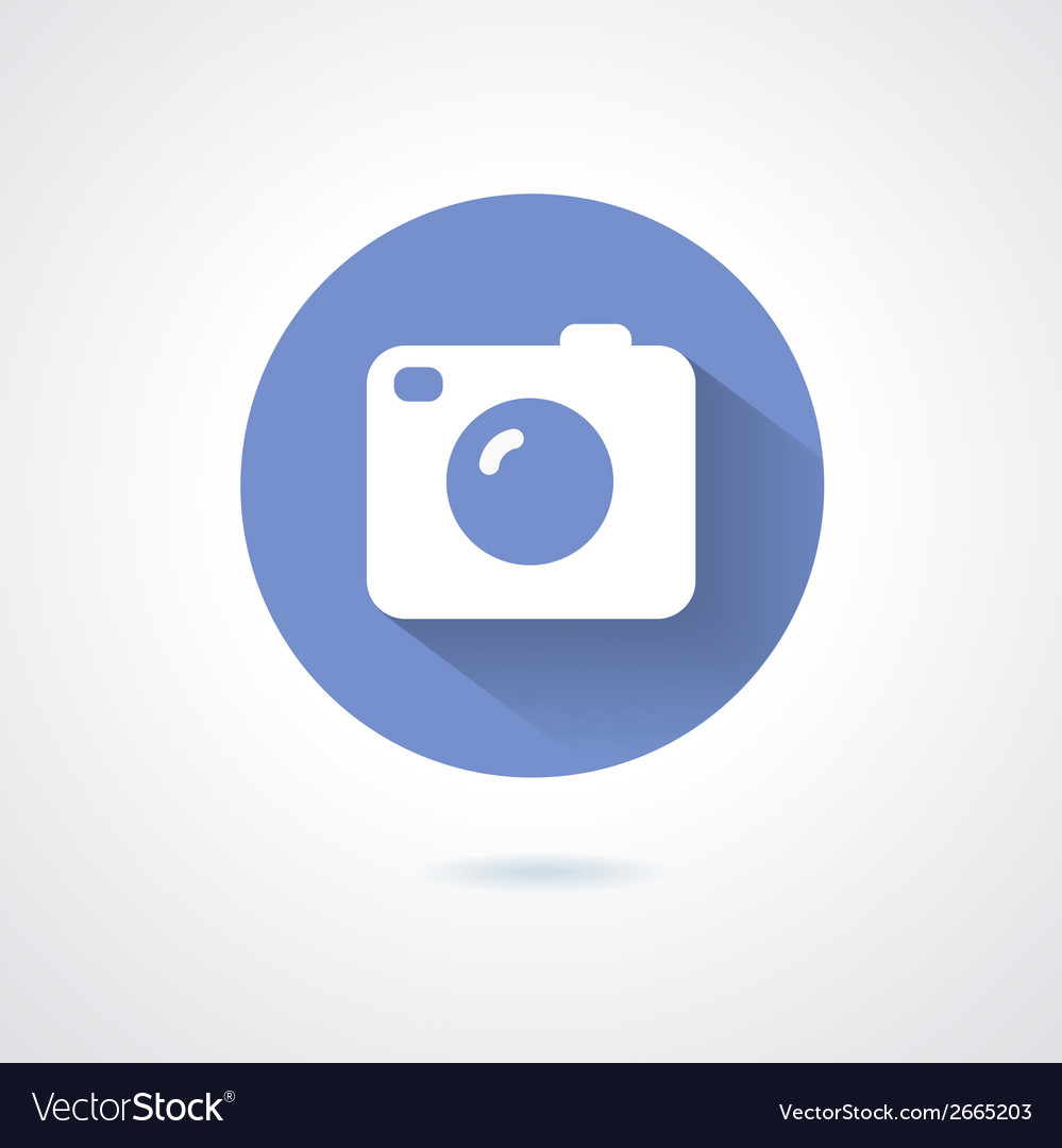 Camera icon flat style with long shadow