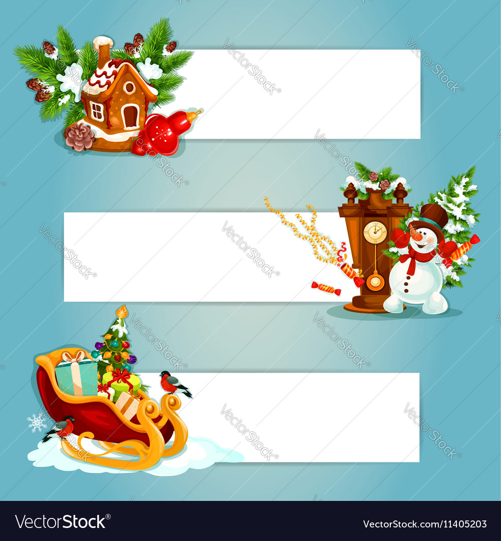 Christmas and New Year banner with gift xmas tree