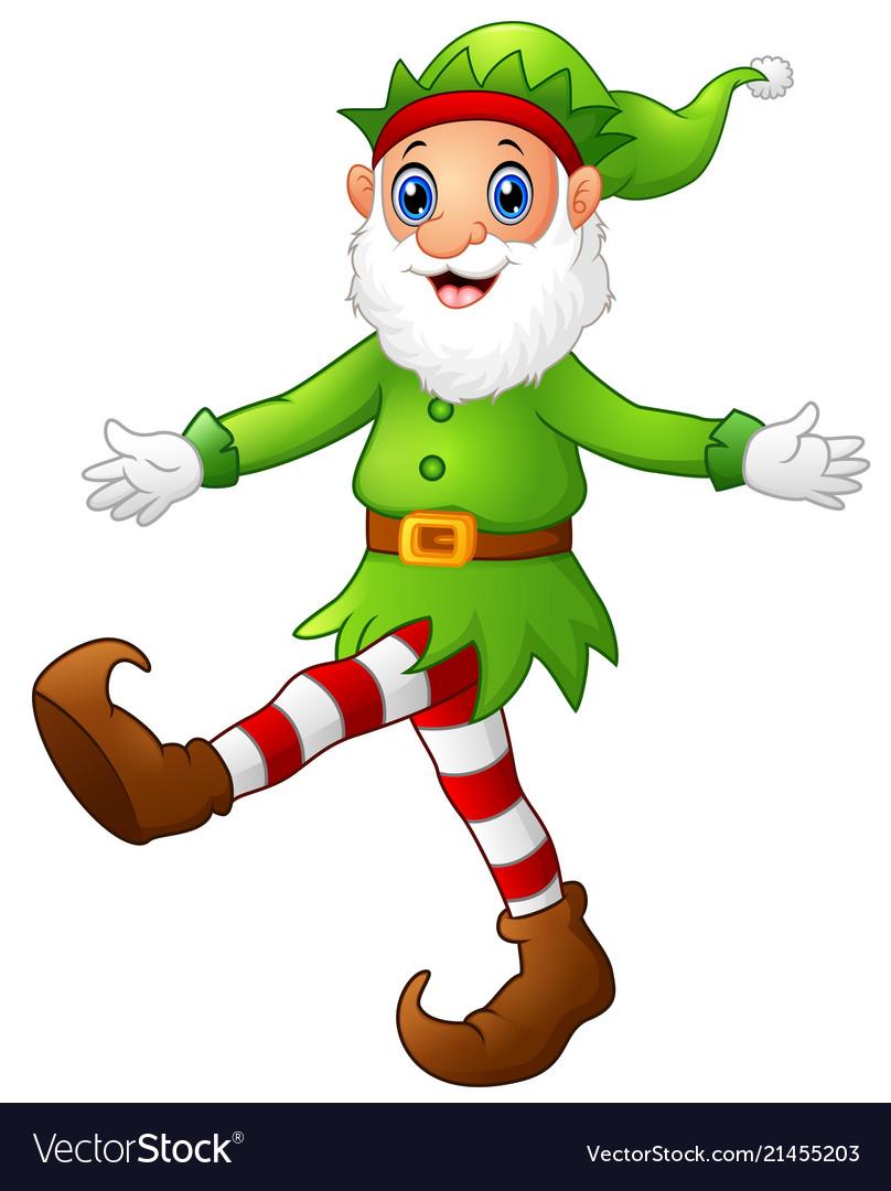 Christmas Dancing Cartoon.Christmas Old Elf Dancing