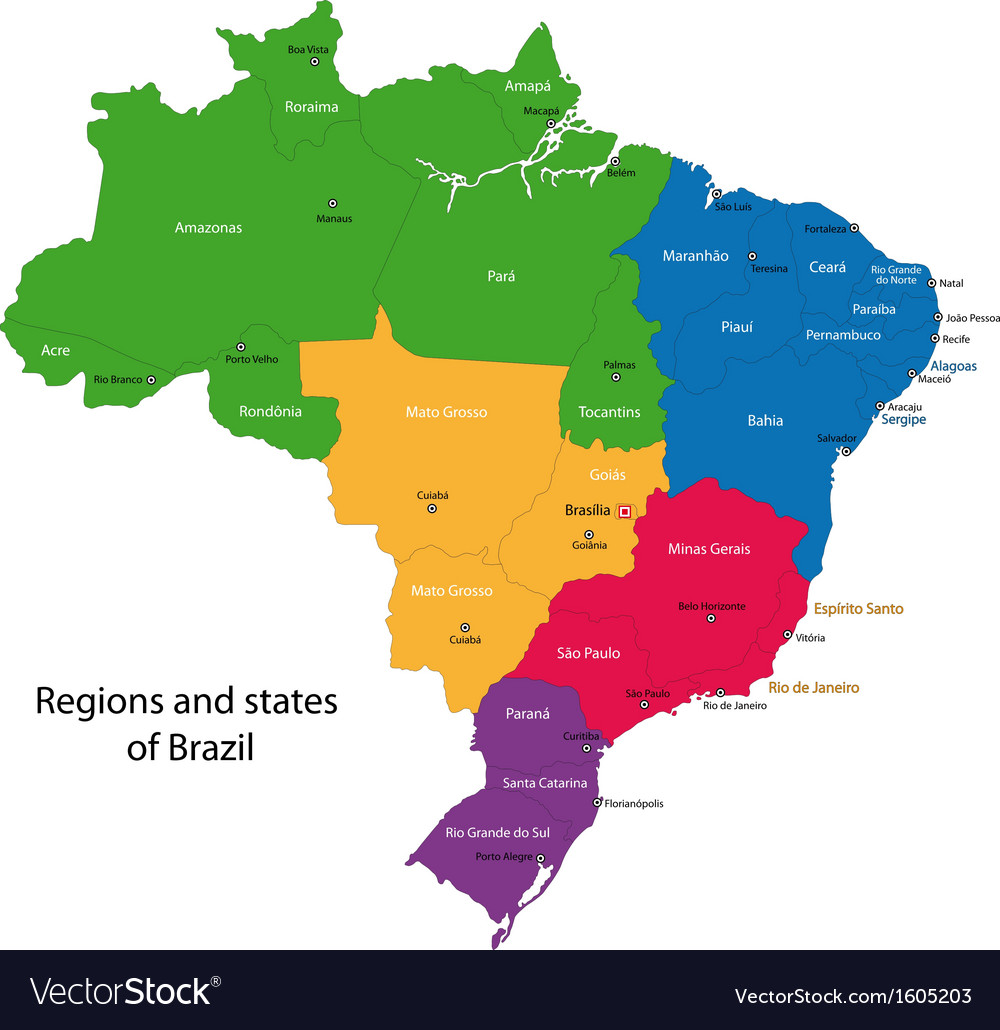 the map of brazil Colorful Brazil Map Royalty Free Vector Image Vectorstock the map of brazil
