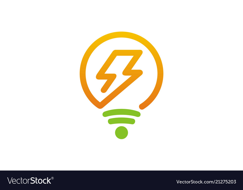 Electric light bulb logo vector image