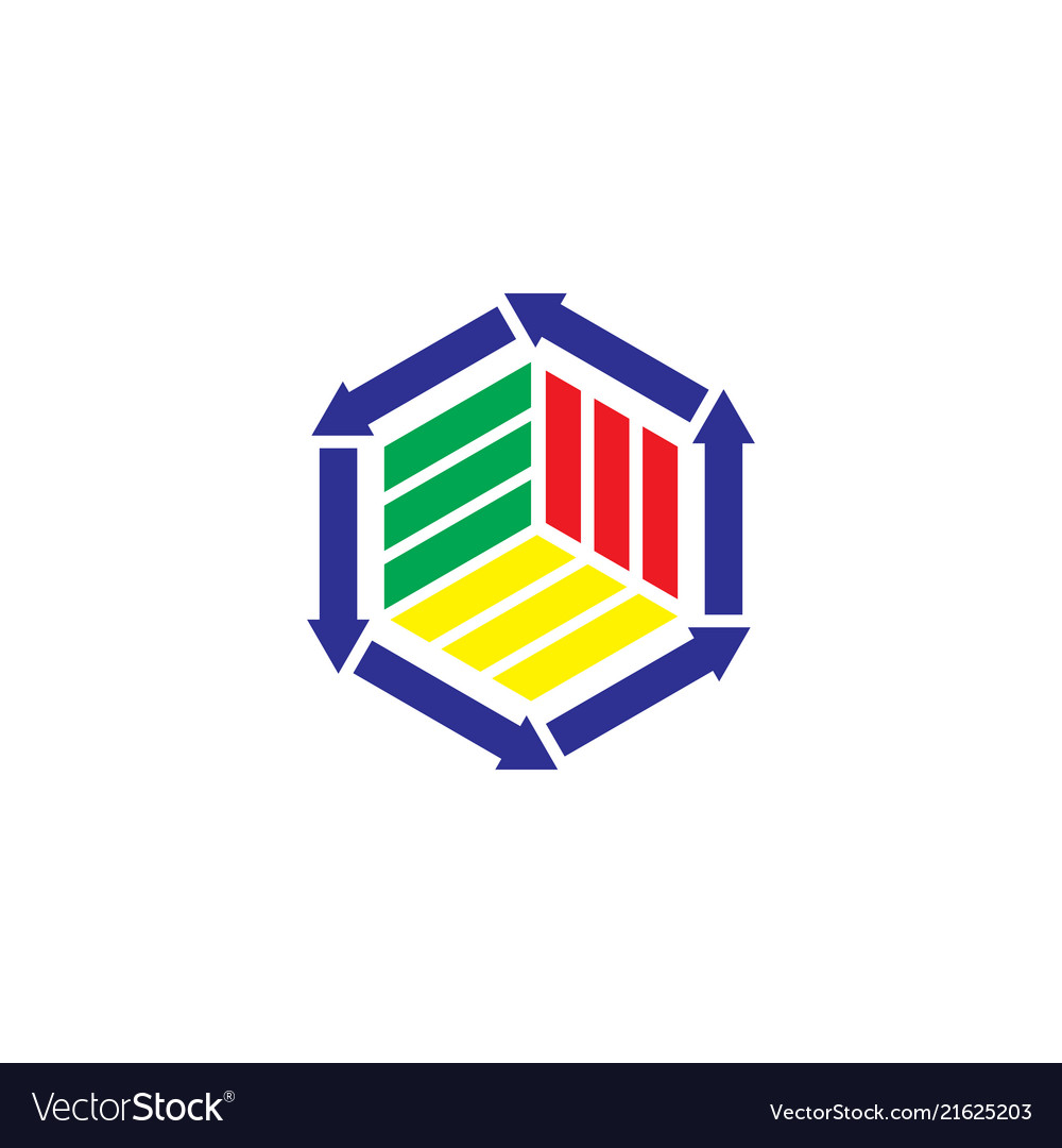 Hexagon arrow business logo