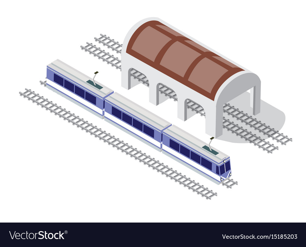 Isometric high-speed train metro on the tracks in