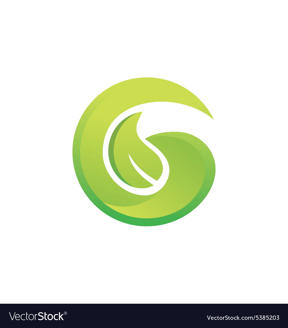 Letter G green leaf botany logo