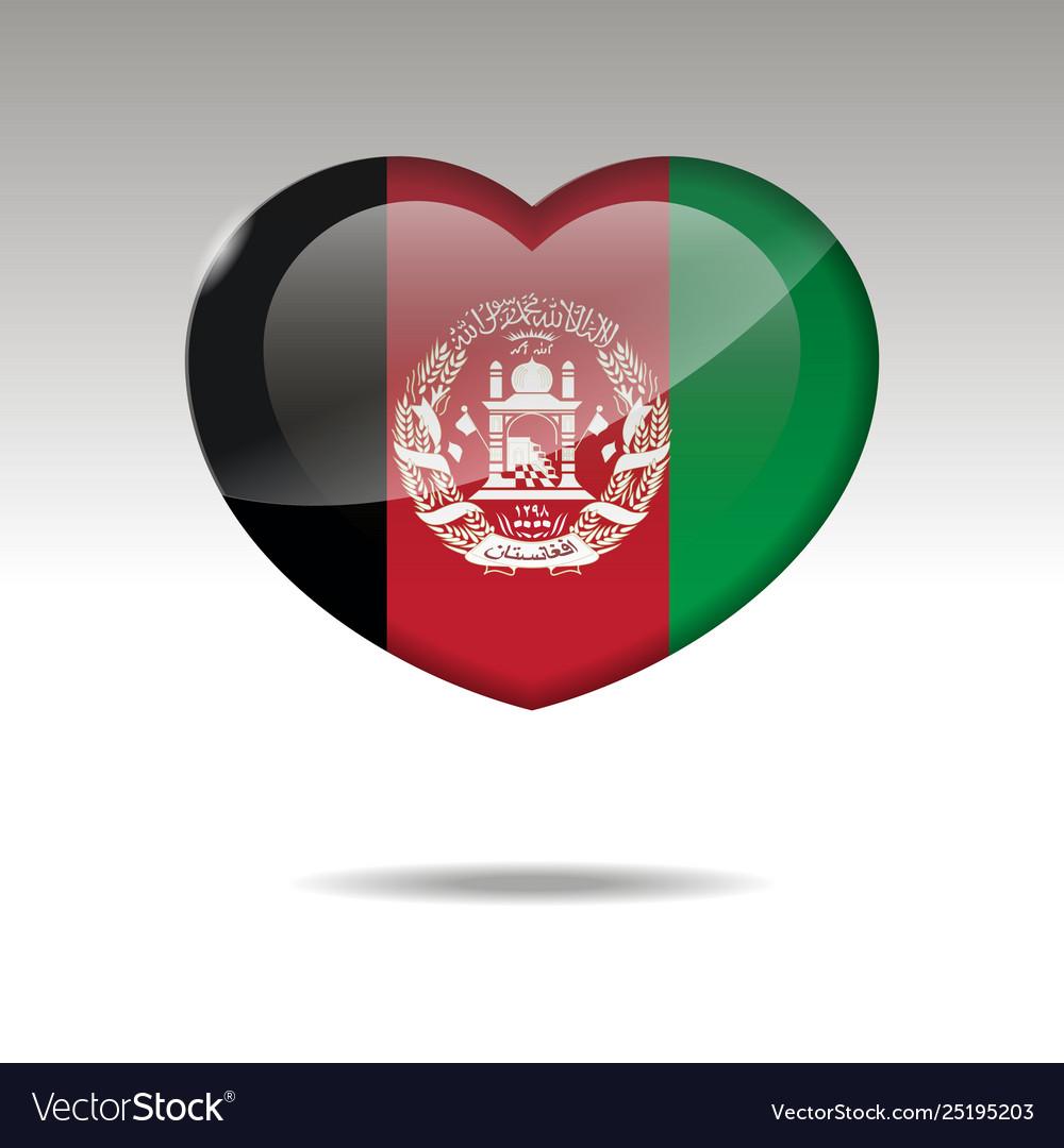 Love afganistan symbol heart flag icon