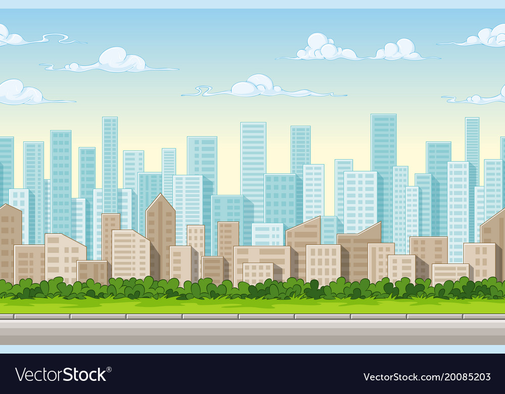 seamless cartoon city background with separate vector image rh vectorstock com cartoon city background cartoon city background vector