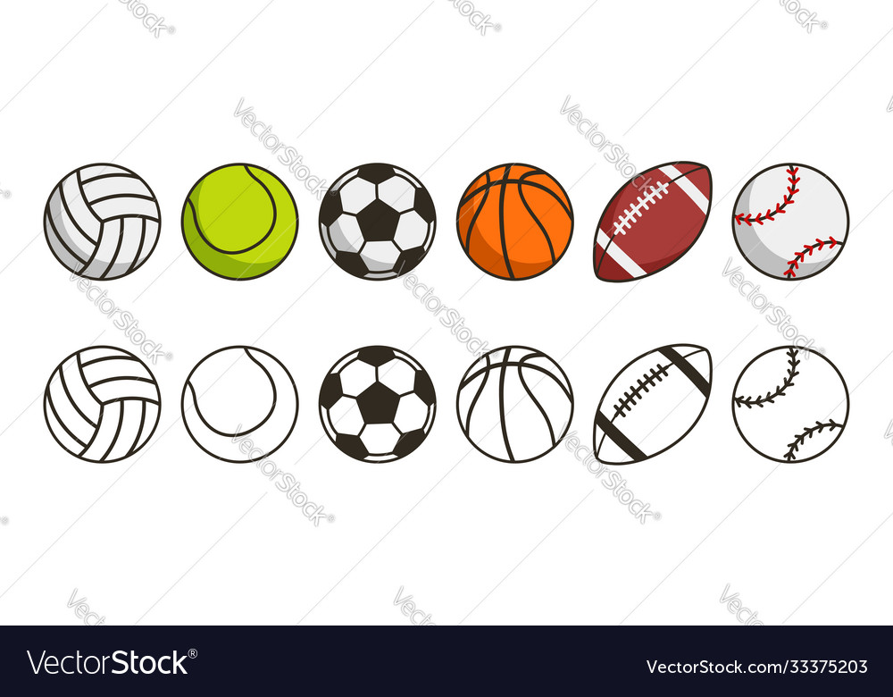 Sport ball set game balls icons volleyball