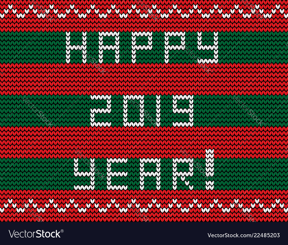 Text happy 2019 year on striped red and green