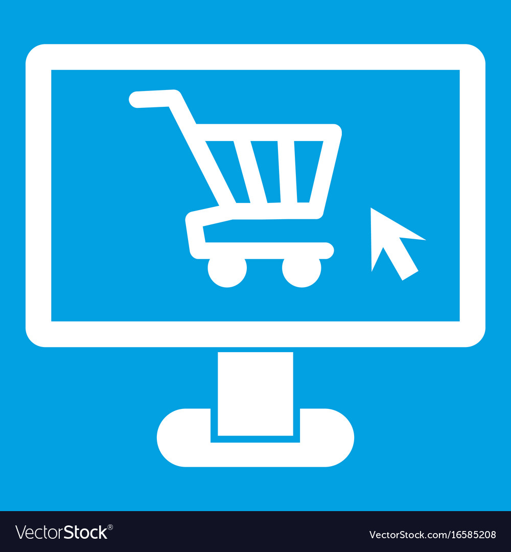 Computer monitor with shopping cart icon white